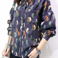 Parrot Print Pocket Long Bishop Sleeve Polo Blouse