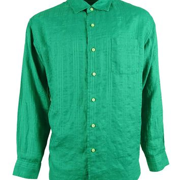 Caribbean Men's Linen Blend Button Down Shirt