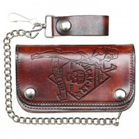 "MEN'S ""NO RIDERS"" WALLET BY LUCKY 13 APPAREL (BROWN)"