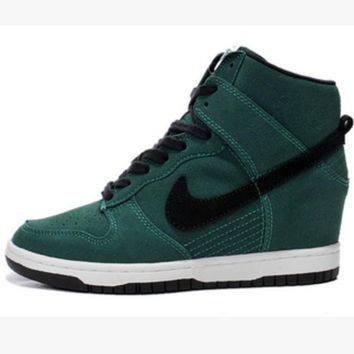 NIKE Hidden Heel Charm High Boots Height Increasing Women Sneakers Shoes Green