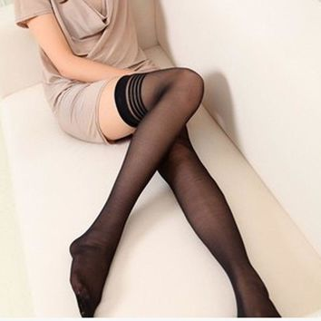 Sexy Lace Knee High Socks Women Girls Non-slip Thigh-Highs Stockings Tights 2 Colors Hot Selling
