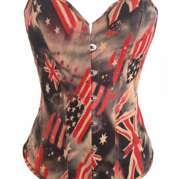 Flag Print Strapless Corset Top