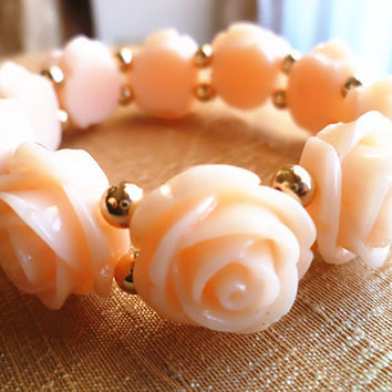 Kawaii Lolita Patent Beaded Rose Bracelet