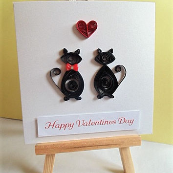 Cat Valentines card, Valentine card, Happy Valentines day, quilled card, cute valentine card, handmade card, greeting card, blank card,