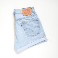 "vintage LEVIS 505 high waisted shorts / soft light wash denim / cutoff distressed hem / size 29"" waist"