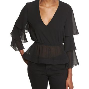 n/nicholas Tiered-Sleeve V-Neck Top, Black