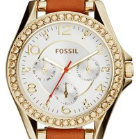 Women's Fossil 'Riley' Crystal Bezel Leather Strap Watch, 38mm