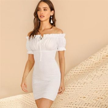 Venice Frilled Off Shoulder Dress