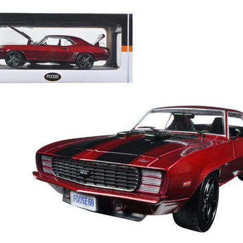 1969 Chevrolet Camaro RS Sioux Red with Black Stripes 1-24 Diecast Model Car by M2 Machines