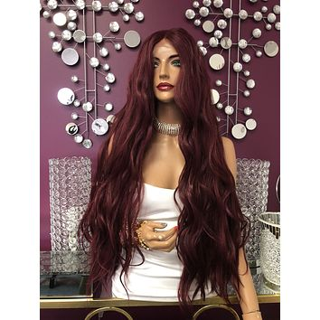 """Red Burgundy Swiss Lace Front Wig 26"""" 