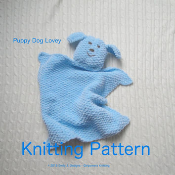 Puppy Dog Lovey Knitting Pattern, from Girlpower on Etsy