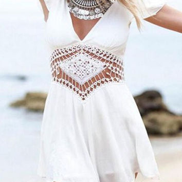 White Cut Out Short Sleeve Romper
