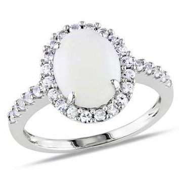 Oval Opal and Lab-Created White Sapphire Frame Ring in 10K White Gold