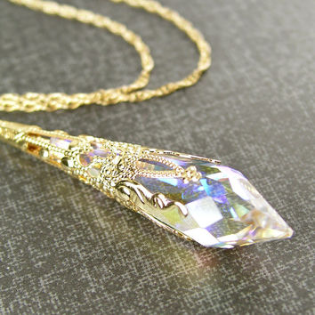 Gold Clear Crystal Necklace 14K Gold Fill Chain Clear Swarovski Crystal Pendant Necklace Victorian Jewelry Aurora Borealis Gold Necklace