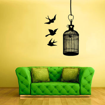rvz564 Wall Decal Vinyl Sticker Decor Art Bedroom Decal Cage Birds Modern Cell