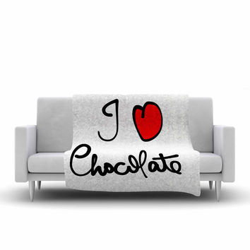 "Gabriela Fuente ""I Love Chocolate"" Food Typography Fleece Throw Blanket"