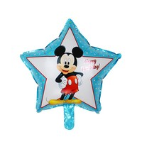 XXPWJ Free Shipping 1pcs / lot Five Star Mickey Birthday Foil Balloons Kids Toys Birthday Party Decoration Helium Balloons