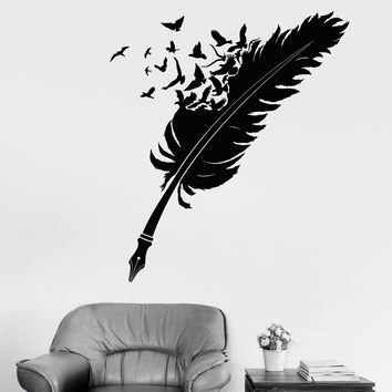 Vinyl Wall Decal Writing Pen Feather Flock Of Birds Ravens Writer Stickers Unique Gift (1999ig)