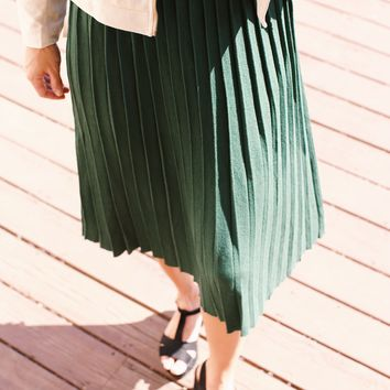 Better With You Accordion Pleated Knit Midi Skirt, Hunter Green