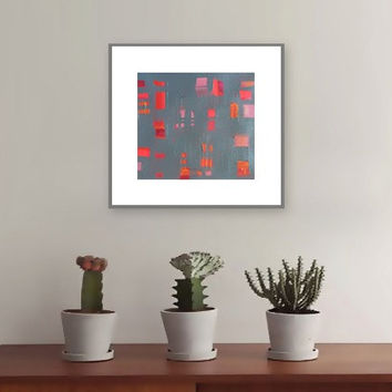 "Abstract Acrylic Painting Original Fine Art 7.5"" x 7.5"" by Linnea Heide - colorful fun whimsical - red grey"