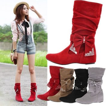 New Women Winter Warm Mid Calf Snow Faux Suede Boots Bowknot Low Heel Flat Shoes = 1946162116