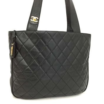 CHANEL Quilted Matelasse CC Logo Lambskin Shoulder Tote Bag Black /k157