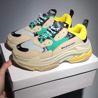 Balenciaga Beige+Green Mixed Colors Retro Sneakers Running Shoes B-CSXY