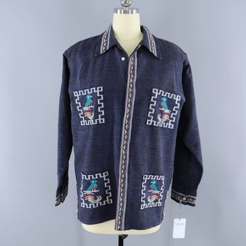Vintage 1970s Mexican Embroidered Shirt / Navy Blue Birds