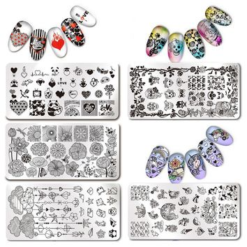 Unicorn Nail Stamping Plate Rectangle Image Plate Stainless Steel Nail Stamp Plates Manicure Stencil Stamp Polish Tools