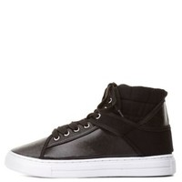 Qupid Mixed Media High-Top Sneakers by Charlotte Russe