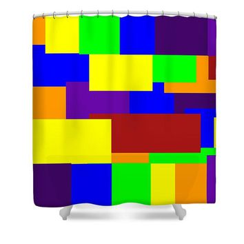 Shower Curtain Multi Color Geometric