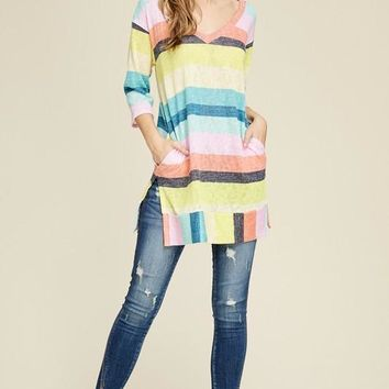 V-Neck Striped Top with Pockets