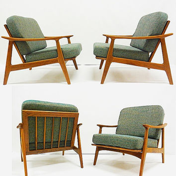 PAIR of Modern Lounge Chairs / Solid Walnut / Danish Modern / Custom Made
