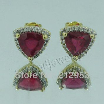 14KT Yellow Gold Vintage Trillion 7mm Solid  Engagement Blood Red Ruby & Diamond Earrings