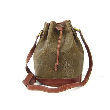 vintage Bucket Bag purse Taupe Brown Cross Body Fossil Drawstring Bag Preppy minimalist bag Across Body Hipster Purse Dell's