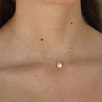 14K Gold Filled Hand Brushed Petal Minimalist Charm Necklace.All 14k gold filled.