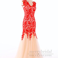 New 2015 Red V Neck Lace Mermaid Prom Dress nude mesh/ V Back Mermaid Party Dress/ Elegant long formal evening dresses/red prom dress EM840