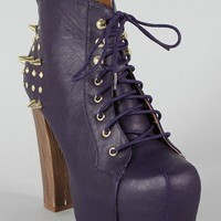 Terza Studded Spike Lace Up Platform Bootie