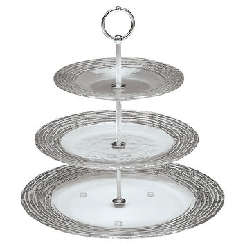 Magara 3-Tier Server, Silver, Cake Stands & Tiered Trays