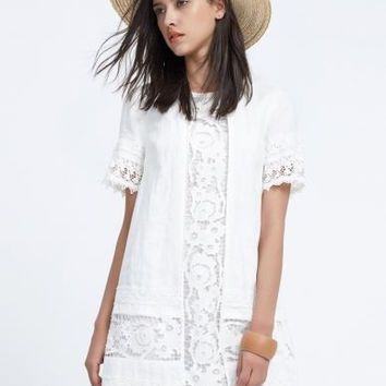 White Short Sleeve Floral Lace Trim Mini Dress