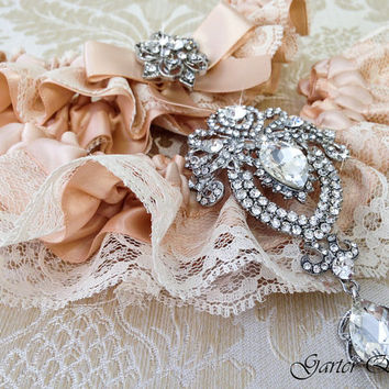 Bridal garter set, Blush Wedding Garter set, Ivory Lace Garter, Lace Wedding Garter, Ivory Garter Set