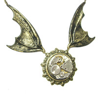Steampunk Necklace Bat Wings w/ Stunning Jeweled Watch Movement by:Mechanique Steampunk