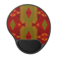 Warm Retro Pattern in Olive Gold Red Gel Mouse Pad