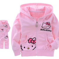 Girls Baby Suit Children's clothing set pink suit kids suit Hello Kitty suit KT cartoon cat Shirt+Pants 2Pcs Retail