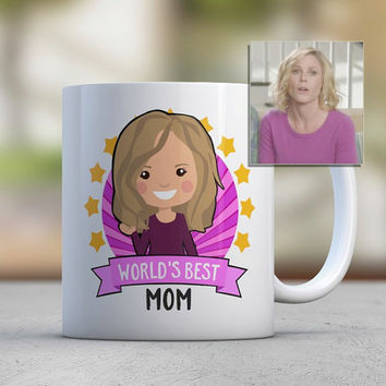 Mothers Day Gift Mom Gift Coffee Mugs Cute Mugs Custom Photo Illustration Avatar Worlds Best Mom Birthday