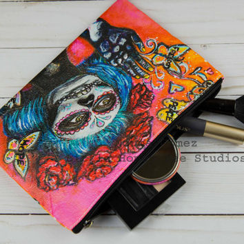 Set Your Butterflies Free Bag, Sugar Skull Cosmetic Bag, Dia De Los Muertos Bag, Sugar Skull Art, Sugar Skull Bag, Pencil Bag, Chicana Art