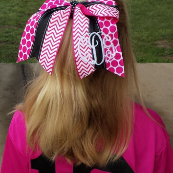Cheer Bow, Softball Bow, Sports Bow -(Pink, Black and White) custom made and can be embroidered with initials or name.