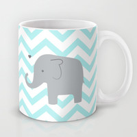 Chevron Elephant Mint Mug by Janelle Krupa