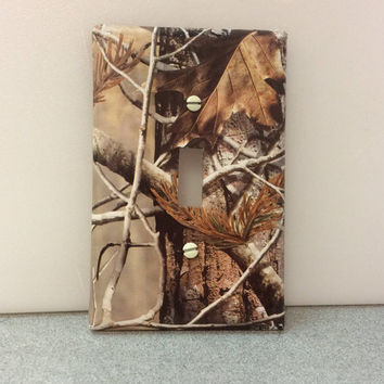 Real Tree Light Switch Cover, Camo Switchplate, Man Cave Camo Switch Cover