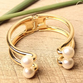 Ring Double Bar Pearl End Cuff Bracelet